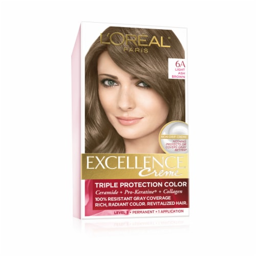 L'Oreal Paris Excellence Creme 6A Light Ash Brown Hair Color Kit Perspective: front