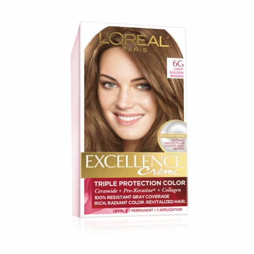 L'Oreal Paris Excellence Creme 6G Light Golden Brown Hair Color Kit Perspective: front
