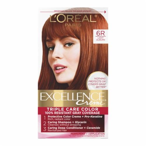 L'Oreal Paris Excellence Creme 6R Light Auburn Hair Color Kit Perspective: front