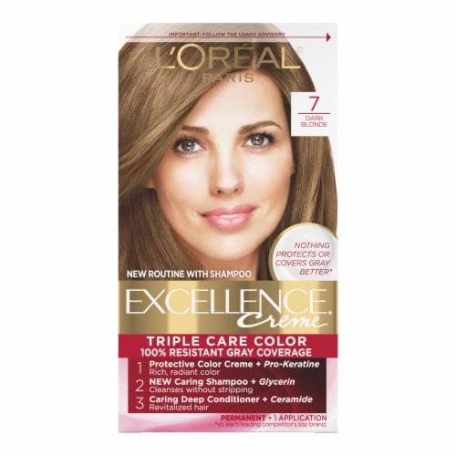L'Oreal Paris Excellence Creme 7 Dark Blonde Triple Protection Permanent Hair Color Kit Perspective: front