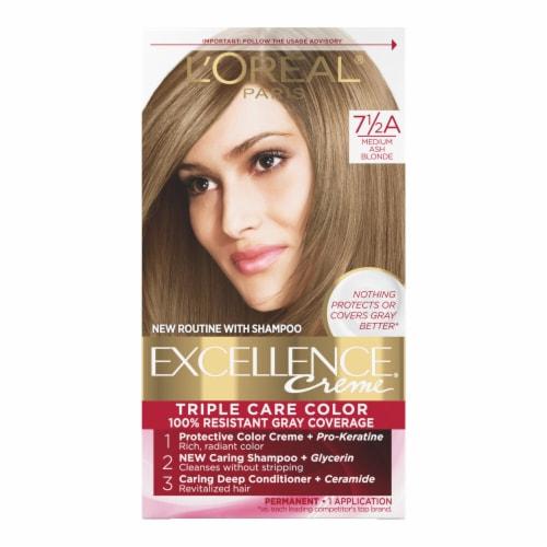 L'Oreal Paris Excellence Creme 7.5A Medium Ash Blonde Hair Color Perspective: front