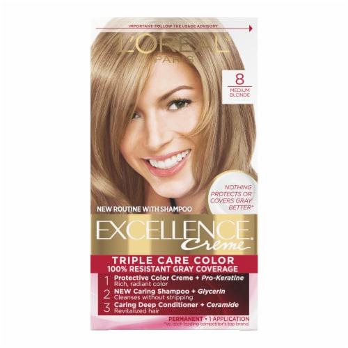 L'Oreal Paris Excellence Creme Triple Protection Medium Blonde 8 Hair Color Perspective: front