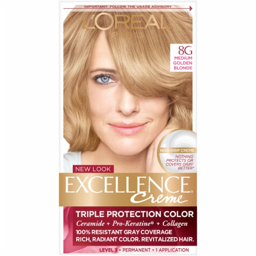 L'Oreal Paris Excellence Creme 8G Medium Golden Blonde Triple Protection Permanent Hair Color Kit Perspective: front