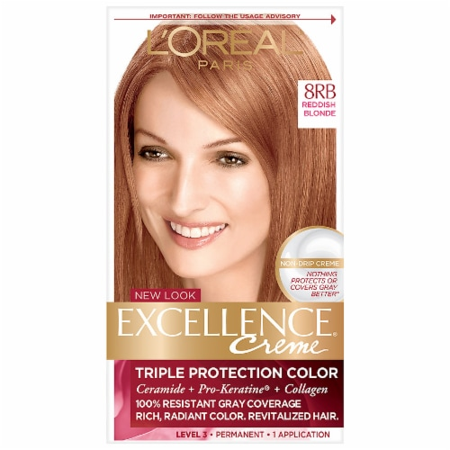 L'Oreal Paris Excellence Creme 8RB Reddish Blonde Hair Color Kit Perspective: front