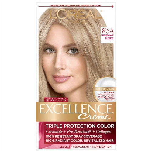 L'Oreal Paris Excellence Creme 8.5A Champagne Blonde Hair Color Perspective: front
