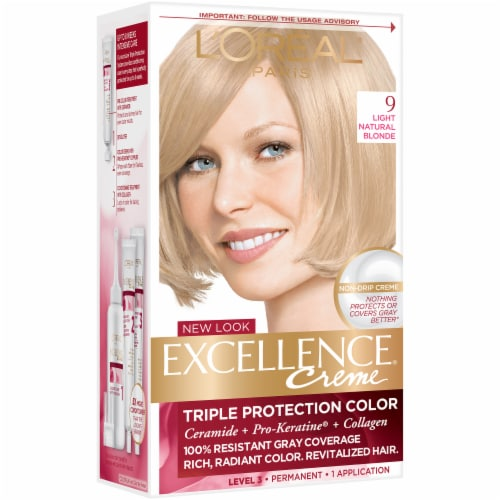 L'Oreal Paris Excellence Creme 9 Light Natural Blonde Hair Color Kit Perspective: front