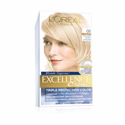L'Oreal Paris Excellence Creme 01 High-Lift Extra Light Natural Ash Blonde Hair Color Kit Perspective: front