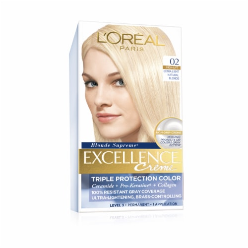 L'Oreal Paris Excellence Creme 02 High-Lift Extra Light Natural Blonde Hair Color Kit Perspective: front