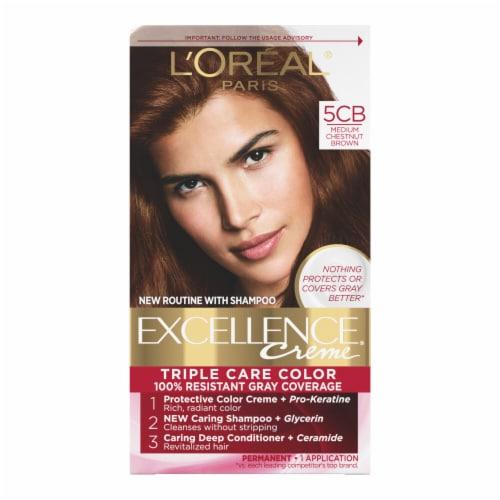 L'Oreal Paris Excellence Creme Triple Protection Color 5CB Medium Chestnut Brown Perspective: front