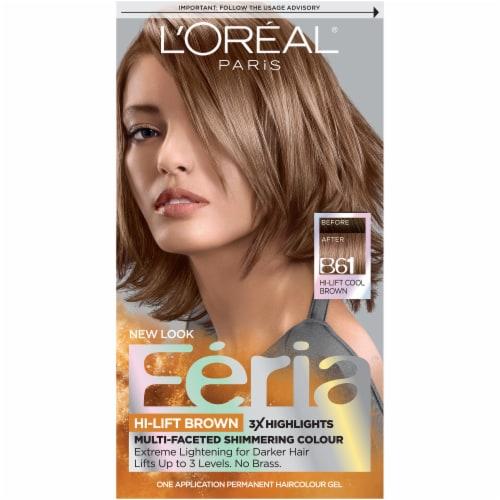 L'Oreal Paris Feria B61 Hi-Lift Cool Brown Hair Color Kit Perspective: front