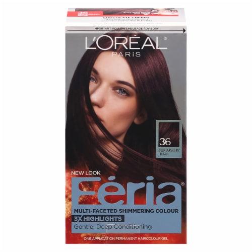 L'Oreal Paris Feria 36 Deep Burgundy Brown Hair Color Kit Perspective: front