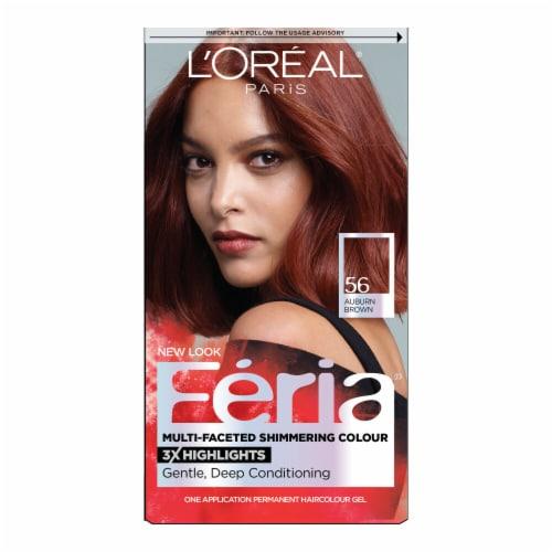 L'Oreal Paris Feria 56 Auburn Brown Permanent Hair Color Kit Perspective: front