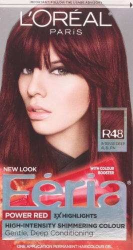 L'Oreal Feria Power Red R48 Intense Deep Auburn Permanent Hair Color Gel Perspective: front