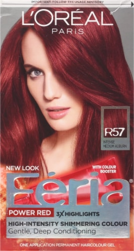 L'Oreal Feria Power Reds Cherry Crush Intense Medium Auburn R57 Permanent Hair Colour Gel Perspective: front