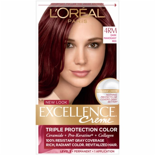 L'Oreal Paris Excellence Creme 4RM Dark Mahogany Red Hair Color Kit Perspective: front
