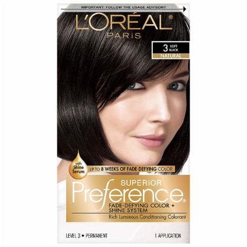 L'Oreal Paris Superior Preference 3 Soft Black Natural Hair Color Perspective: front