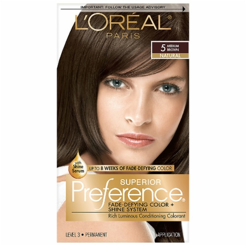 L'Oreal Paris Superior Preference Medium Brown 5 Permanent Hair Color Perspective: front