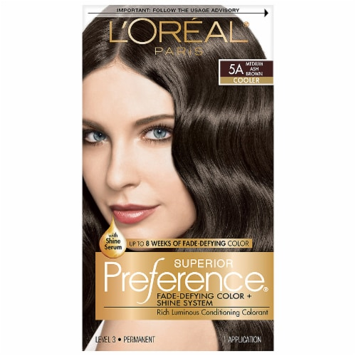 L'Oreal Paris Superior Preference 5A Medium Ash Brown Cooler Hair Color Perspective: front