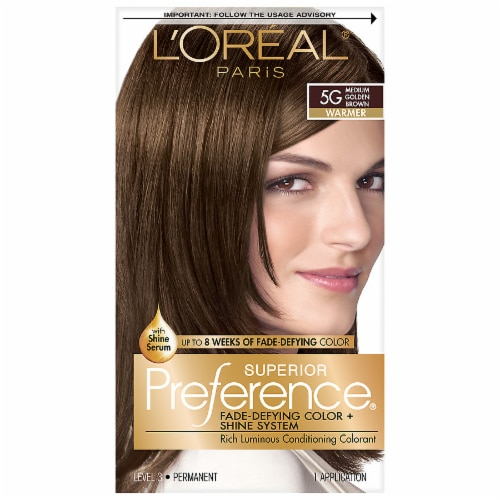L'Oreal Paris Superior Preference Warmer Medium Golden Brown 5G Permanent Hair Color Perspective: front