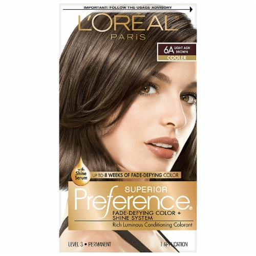 L'Oreal Paris Superior Preference Fade-Defying Shine Permanent Hair Color 6A Light Ash Brown Perspective: front