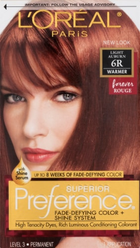 L'Oreal Paris Superior Preference 6R Light Auburn Permanent Hair Color Kit Perspective: front
