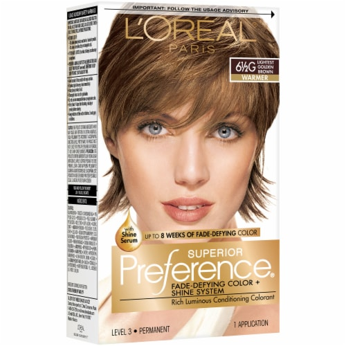 L'Oreal Paris Superior Preference Lightest Golden Brown 6.5G Hair Color Perspective: front