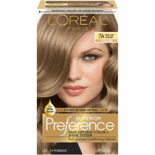 L'Oreal Paris Superior Preference 7A Dark Ash Blonde Cooler Hair Color Perspective: front