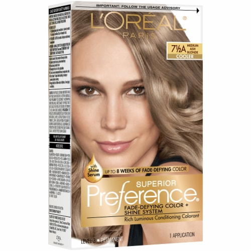 L'Oreal Paris Superior Preference 7.5A Medium Ash Blonde Cooler Hair Color Perspective: front