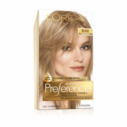L'Oreal Paris Superior Preference Medium Blonde 8 Hair Color Perspective: front