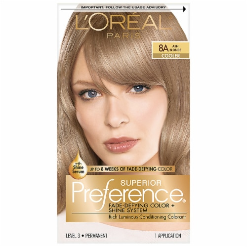 L'Oreal Paris Superior Preference 8A Ash Blonde Permanent Hair Color Kit Perspective: front