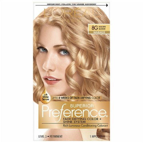 L'Oreal Paris Superior Preference Golden Blonde 8G Permanent Hair Color Perspective: front