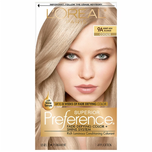 L'Oreal Paris Superior Preference Fade-Defying Shine Permanent Hair Color 9A Light Ash Blonde Perspective: front