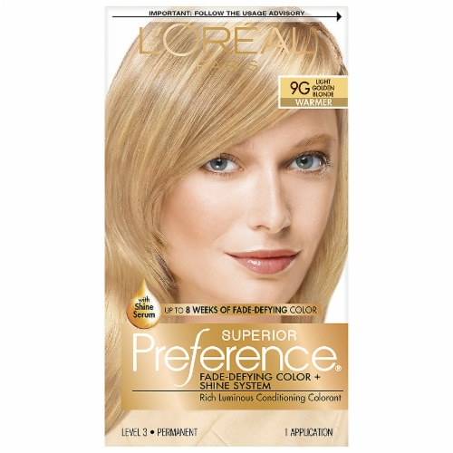 L'Oreal Paris Preference 9G Light Golden Blonde Hair Color Perspective: front