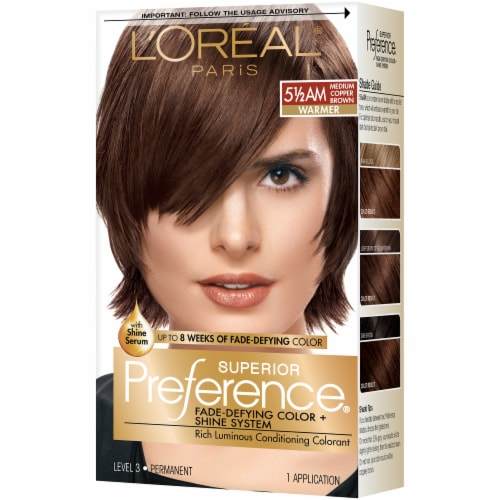 L'Oreal Paris Preference 5 1/2AM Medium Amber Copper Brown Hair Color Perspective: front
