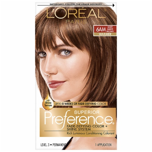 L'Oreal Paris Superior Preference 6AM Light Amber Brown Permanent Hair Color Kit Perspective: front
