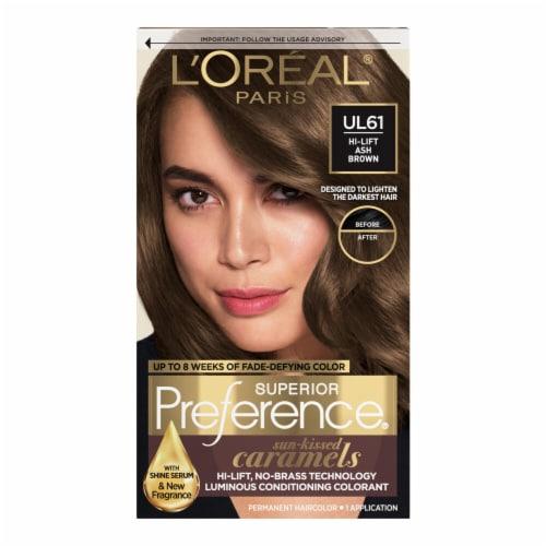 L'Oreal Paris Superior Preference UL61 Hi-Lift Ash Brown Hair Color Perspective: front