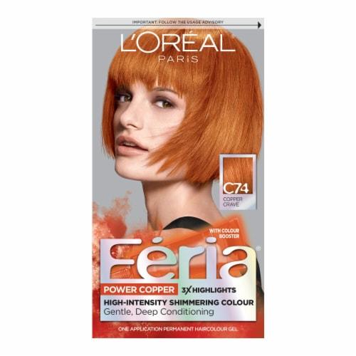 L'Oreal Paris Feria Power C74 Intense Copper Hair Color Perspective: front