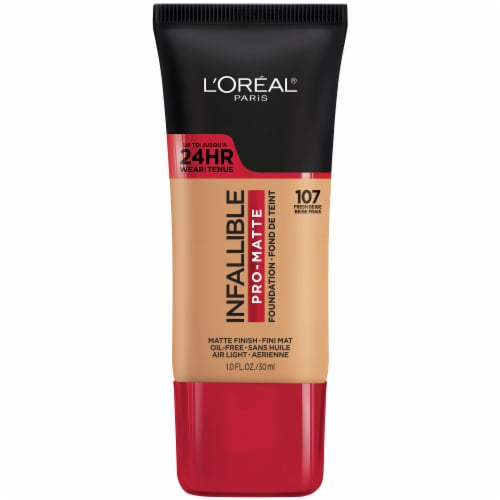 L'Oreal Paris Infallible Pro-Matte 107 Fresh Beige Liquid Foundation Perspective: front