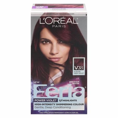 L'Oreal Feria Power Violet V38 Intense Deep Violet Hair Color Perspective: front