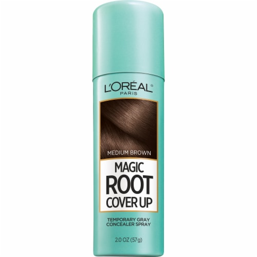L'Oreal Paris Magic Root Cover Up Medium Brown Temporary Gray Concealer Spray Perspective: front