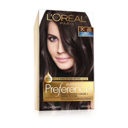 L'Oreal Paris Superior Preference Cool Darkest Brown 3C Hair Color Perspective: front