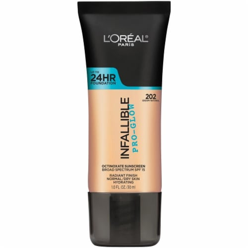 L'Oreal Paris Infallible Pro-Glow 202 Creamy Natural Octinoxate Sunscreen Broad Spectrum SPF 15 Perspective: front
