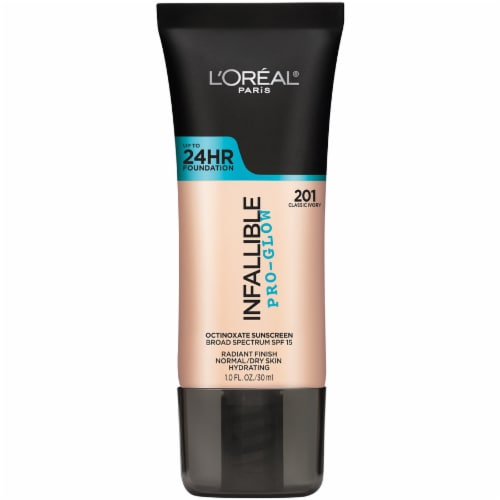 L'Oreal Paris Infallible Pro-Glow 201 Classic Ivory Foundation SPF 15 Perspective: front