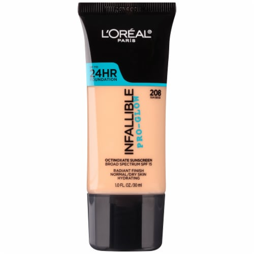L'Oreal Paris Infallible Pro Glow 208 Sun Beige Foundation Perspective: front