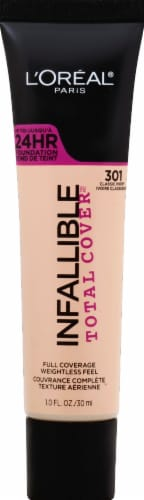 L'Oreal Paris Infallible Total Cover 301 Classic Ivory Liquid Foundation Perspective: front