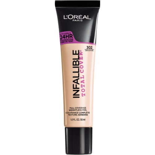 L'Oreal Paris Infallible Total Cover 302 Creamy Natural Liquid Foundation Perspective: front
