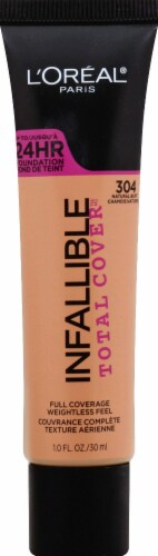 L'Oreal Paris Infallible Total Cover 304 Natural Buff Liquid Foundation Perspective: front