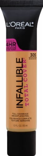 L'Oreal Paris Infallible Total Cover 305 Natural Beige Liquid Foundation Perspective: front