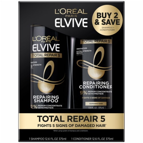 L'Oreal Paris Elvive Total Repair 5 Shampoo + Conditioner Value Pack Perspective: front