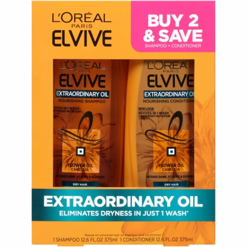 L'Oreal Paris Elvive Extraordinary Oil Nourishing Shampoo and Conditioner 3 Count Perspective: front